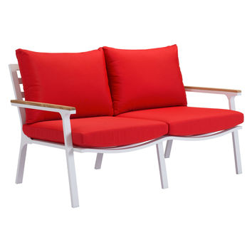 Pier Ave Outdoor Sofa WHITE/RED