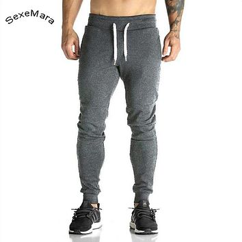 SexeMara Casual Fleece Tracksuit Pants Elastic Waist Crossfit Trousers Men's Clothing Fitted Sweatpants For Men Skinny Trousers