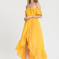 Bright Yellow High Low Maxi Dress