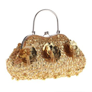 design beaded handmade style women evening bags clutch purse wedding bridal evening bag pearl small purse