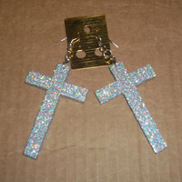 Silver Glitter Cross Earrings