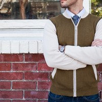 Olive and Orange Zip Sweaters - Betabrand