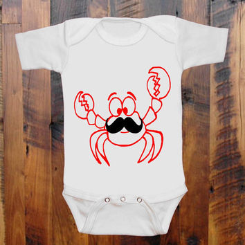 Crabby mustache Onesuit   baby clothing   one piece romper orange white purple blue pink you choose
