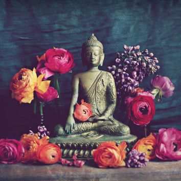 Buddha Photography / meditation room decor / ranunculus flowers / yoga room art /  meditate buddha art / charcoal gray gold buddha