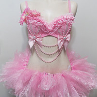 Baby Pink Rave Bra, Custom Event Outfit Pearls Ruffles W/Tutu