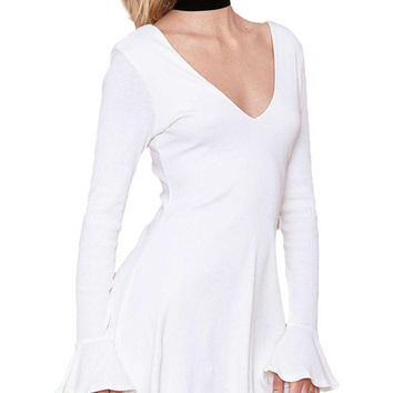 White Angel Sleeve Back-to-Back V-Cut Skater Dress