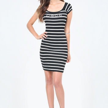 LOGO STRIPED MINI DRESS