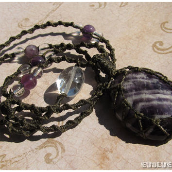 Amethyst Crystal Macrame Necklace - Stone for Third Eye