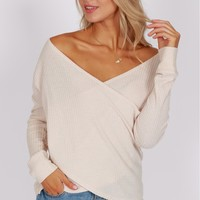 Thermal Wrap Long Sleeve Top Oatmeal