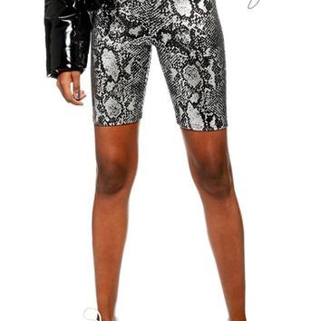 Topshop Foil Snake Print Cycling Shorts | Nordstrom