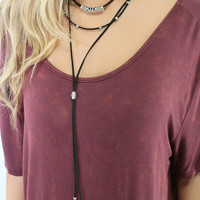 In The Groove Black Bolo Choker Necklace With Antique Silver Pendants