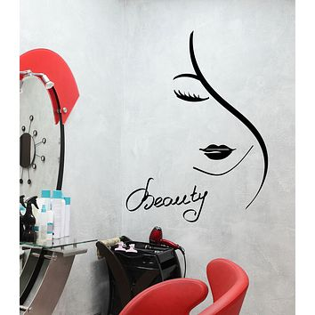Vinyl Wall Decal Beauty Hair Salon Logo Girl Face Lips Stickers (3356ig)