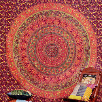 Indian Elephant Mandala Psychedelic tapestry, Indian Tapestry, Elephant Mandala Tapestry, Throw Wall Haningn, Dorm Bedding, Elephant Mandala