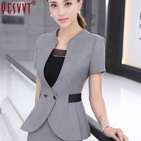 yesvvt 2017 Black Gray Skirt Suits Fashion Summer Style Women Business Suits Formal Office Suits Work wear Elegant Blazer S-4XL