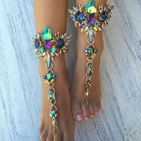 Fashion Jewelry Hot Multicolor Crystal Rhinestone Ankle Bracelets Beach Vacation Sandals Sexy Leg Chain Female Boho Anklet 8353