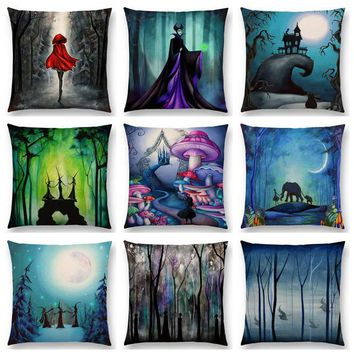 Alice Dreams Cute Cat Magical Moon Night Wonderland Emerald Forest Witches Halloween Dance Beautiful Cushion Cover Pillow Case