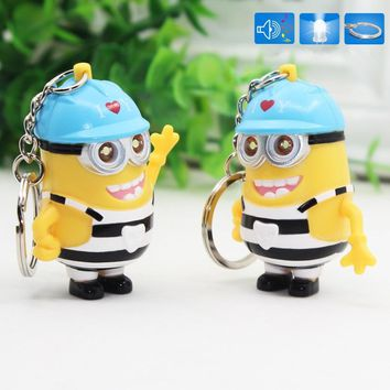 New arrive Despicable 3 3D LED Keychain talk minions Absenteeism striation Gru Lucy Dru minions Sound Keyring with helmet 25#