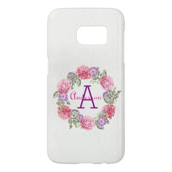 Pretty Pink Peony Wreath Monogrammed Samsung Galaxy S7 Case