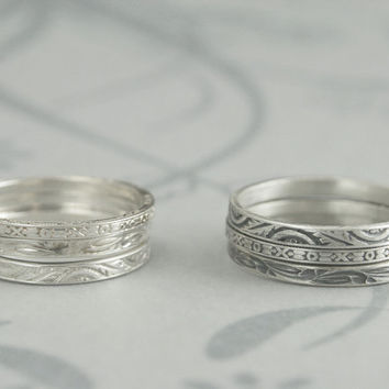 Detailed Little Stacker--Solid Sterling Silver Engraved Thin Wedding Band--Detailed Embossed Design--Made to Size