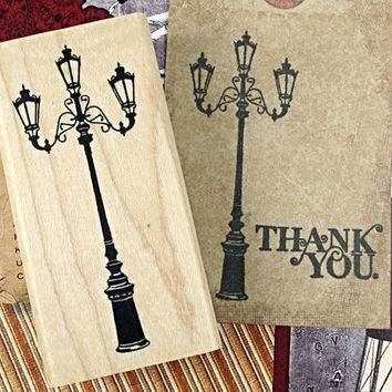 Antique Lamp Post - Street Light - Large Wooden Rubber Stamp - Zakka Stationery