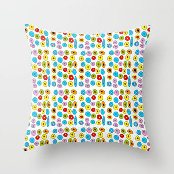 multicolor 3 polka dot-polka dot,pattern,dot,polka,circle,disc,point,abstract,kitsch Throw Pillow by oldking