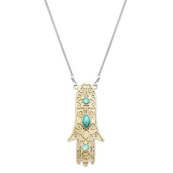 Michal Golan Sterling Silver Opal and Turquoise Hamsa Necklace
