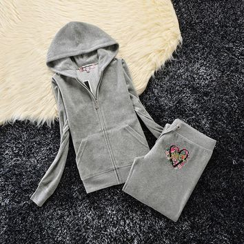 Juicy Couture Studded Love Flowers Logo Crown Velour Tracksuit 6131 2pcs Women Suits Grey