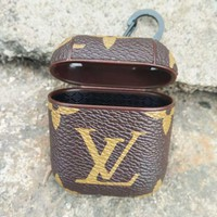 LV Newest Hot Sale Fashion iPhone AirPods Bluetooth Wireless Earphone Protector With Louis Vuitton Monogram Print Protective Case(No Headphones)