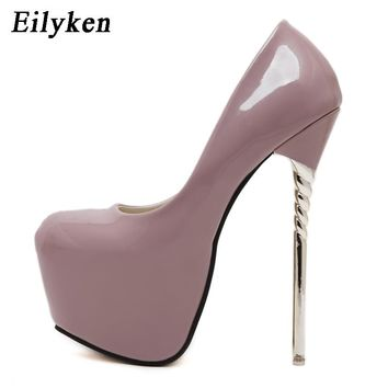 Eilyken 2018 New Sexy Women Pumps Wedding Women Fashion Patent Leather Shoes Latform Very High Heel shoes For Women