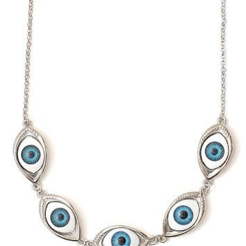 Eyeball Stations Collar Necklace Eye Bib Silver Tone Statement Choker NN06 Fashion Jewelry