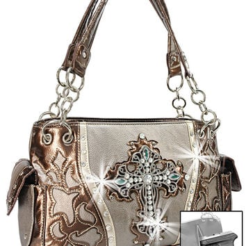 * Rhinestone Cross Concealed Carry Layered Western Handbag In Silver