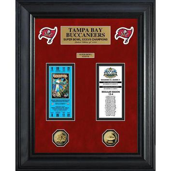 Tampa Bay Buccaneers Super Bowl Ticket and Game Coin Collection Framed