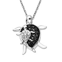 """10k White Gold and Black and White Diamond """"Mother and Baby Turtle"""" Pendant Necklace (.08 cttw), 18"""""""