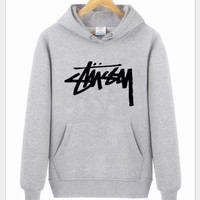 Stussy With thick fleece printed letters long sleeve T-shirt hoodie Black