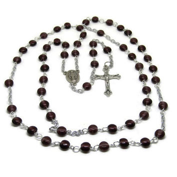 Handmade Amethyst Rosary, Amethyst Glass Bead, Miraculous Medal Rosary with Sterling Silver Plated Chain