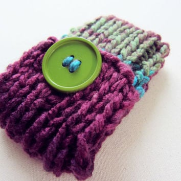 Knit Cell Phone Case I-Phone Cozy Knitted Crochet Button Gadget Cover Cellular Multicolor