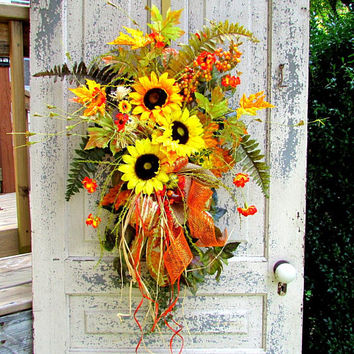 Fall sunflower wreaths for front door, Fall floral swag, autumn door hanger, Fall, scarecrow, Thanksgiving decor, floral door swag, autumn