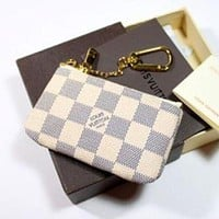 LV Louis Vuitton Fashion Plaid Print Small Bag Change purse key bag F White Plaid