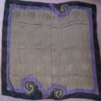 CREYRQ5 Vintage Gianni Versace 100% silk scarf. Black,Purple &Gold with flowers & leaves