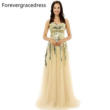Forevergracedress Original Pictures Unique Gold Color Prom Dress Sweetheart Tulle Sequins Long Formal Party Dress Plus Size