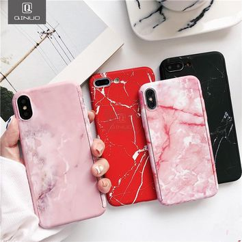 QINUO 360 Degree Marble Stone Full Protective Case For iPhone 6 6S 7 8Plus 5 SE Cover With Tempered Glass Phone Case For iPhoneX