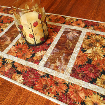 Fall Quilted Table Runner with Autumn Flowers and Leaves