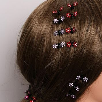 HOT 12 PCS/set Girls Sweet Crystal Rhinestone Flower Mini Hair Claws Clips Pin Clamps Hair Clip Hair  Accessories NEW