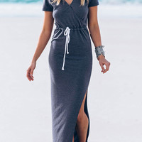 Gray Wrap Front Drawstring Waist Side Slit Maxi Dress