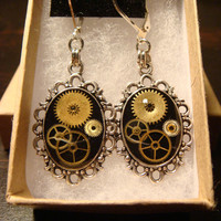 Victorian Style Clockwork Watch Part Gears Steampunk Leverback Earrings (1808)