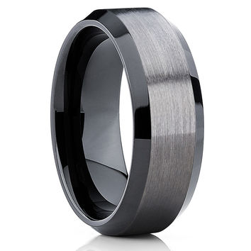 10mm Gunmetal Tungsten Wedding Band - Black Tungsten - Tungsten Wedding Ring