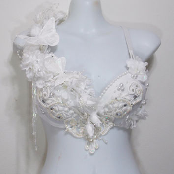 Winter Fairy, Rave Bra Applique, Rhinestones, Butterflies