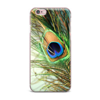 "Sylvia Cook ""Teal Peacock Feather"" iPhone Case"