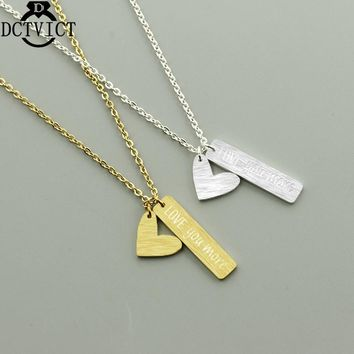 Rose Gold Heart Bar Necklace Pendant Stainless Steel Love Statement Necklaces Women Jewelry Valentines Gift Lettering Collier