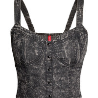 H&M - Denim Bustier - Black - Ladies